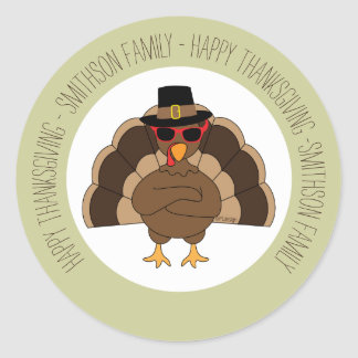 Cool Turkey with sunglasses Happy Thanksgiving Classic Round Sticker