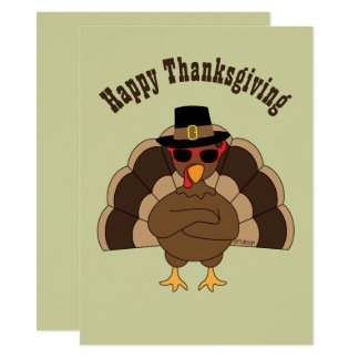 Cool Turkey with sunglasses Thanksgiving Invite