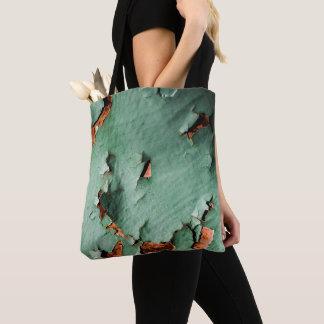 Cool turquoise brown rusty metal tote bag