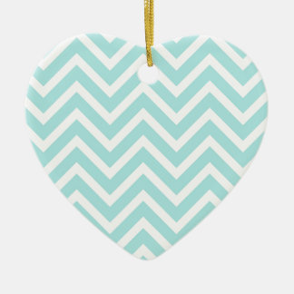 Cool Turquoise Chevron Pattern Ceramic Ornament