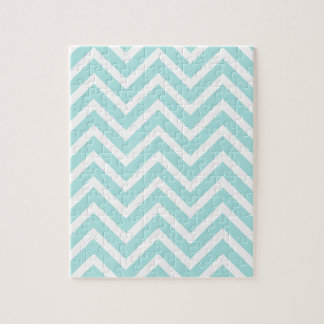 Cool Turquoise Chevron Pattern Jigsaw Puzzle