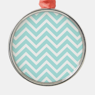 Cool Turquoise Chevron Pattern Metal Ornament
