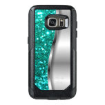 Cool Turquoise Glitter Otterbox Samsung Galaxy S7 Case at Zazzle