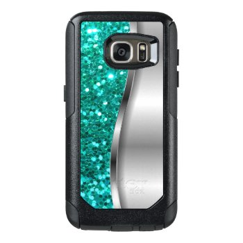 Cool Turquoise Glitter Otterbox Samsung Galaxy S7 Case by idesigncafe at Zazzle