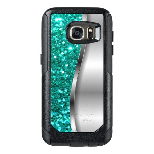 cool turquoise glitter otterbox samsung galaxy s7 case. Black Bedroom Furniture Sets. Home Design Ideas