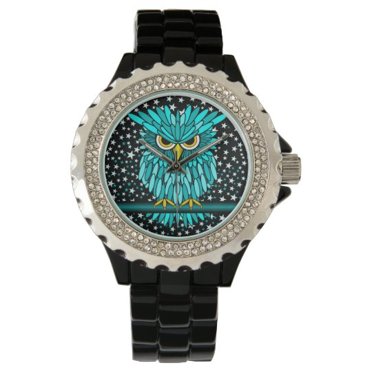 cool turquoise owl wristwatch