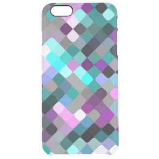 Cool Turquoise Purple Retro Round Squares Pattern Uncommon Clearly™ Deflector iPhone 6 Plus Case