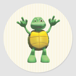 Cool Turtle Classic Round Sticker
