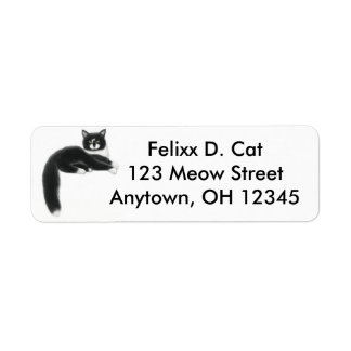 Cool Tuxedo Cat Avery Label