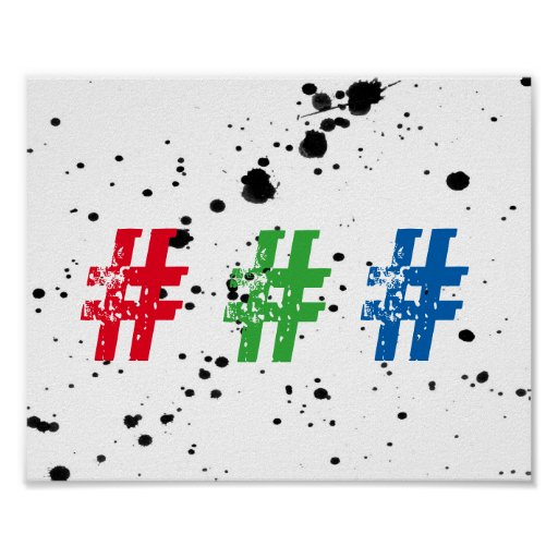cool typography hashtag poster wall art zazzle