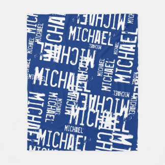 cool typography white names on navy blue fleece blanket
