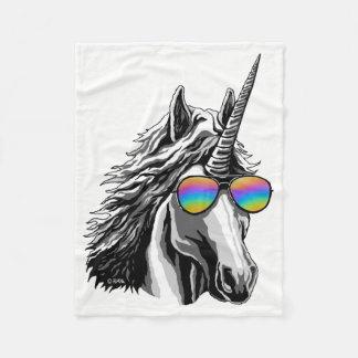 Cool unicorn with rainbow sunglass fleece blanket