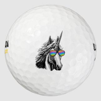 Cool unicorn with rainbow sunglass golf balls