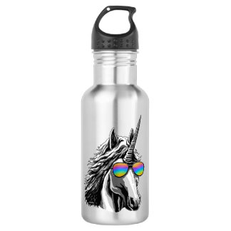 Cool unicorn with rainbow sunglass stainless steel water bottle