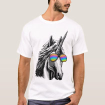 Cool unicorn with rainbow sunglasses T-Shirt