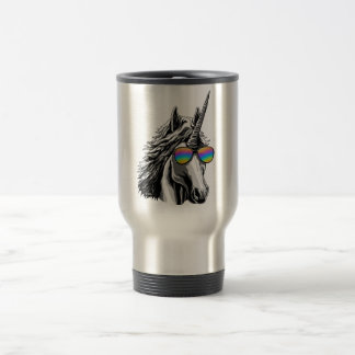 Cool unicorn with rainbow sunglasses travel mug