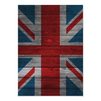 Cool union jack flag gadrk grunge wood effects card