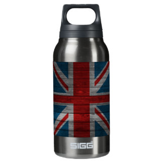Cool union jack flag gadrk grunge wood effects insulated water bottle