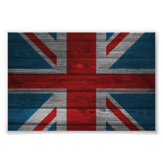 Cool union jack flag gadrk grunge wood effects photo print