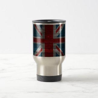 Cool union jack flag gadrk grunge wood effects travel mug