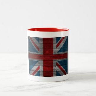 Cool union jack flag gadrk grunge wood effects Two-Tone coffee mug