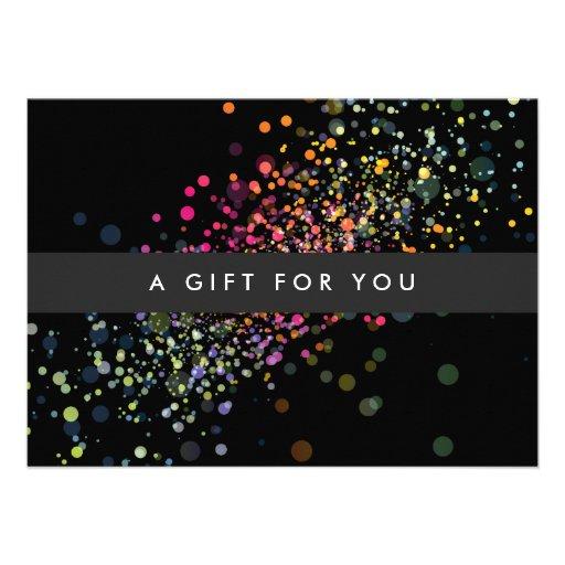 COOL & UNIQUE BLACK CONFETTI Gift Certificate Personalized Announcements