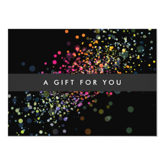 """COOL & UNIQUE BLACK CONFETTI Gift Certificate 4.5"""" X 6.25"""" Invitation Card"""