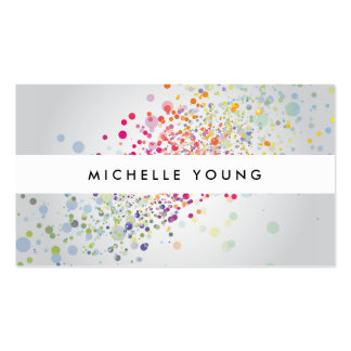 COOL & UNIQUE COLORFUL CONFETTI on GRAY II Double-Sided Standard Business Cards (Pack Of 100)