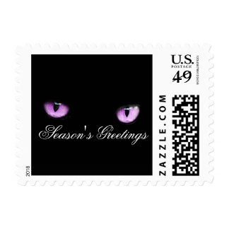 Cool Unique Elegant Xmas Holiday Purple Cat Eyes Stamp
