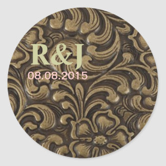 Cool unique metal pattern abstract classic round sticker