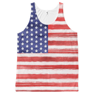 Cool USA Flag Modern 4th of July Patriotic All-Over Print Tank Top