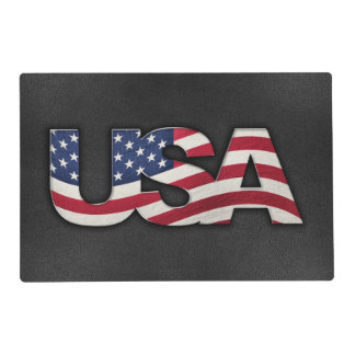 Cool USA signage with real flag Placemat