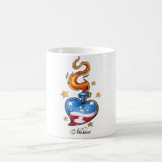 Cool USA themed Heart with flame tattoo Coffee Mug