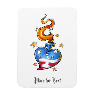 Cool USA themed Heart with flame tattoo Magnet