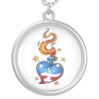 Cool USA themed Heart with flame tattoo Round Pendant Necklace