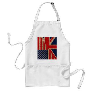 Cool usa union jack flags burlap texture effects adult apron
