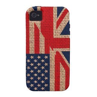 Cool usa union jack flags burlap texture effects iPhone 4/4S case