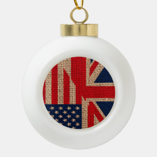 Cool usa union jack flags burlap texture effects ceramic ball christmas ornament