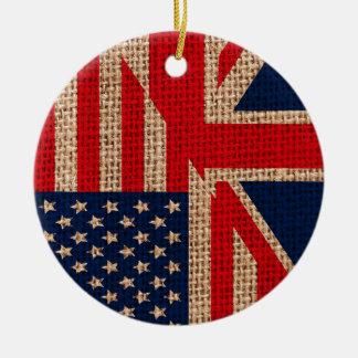 Cool usa union jack flags burlap texture effects ceramic ornament