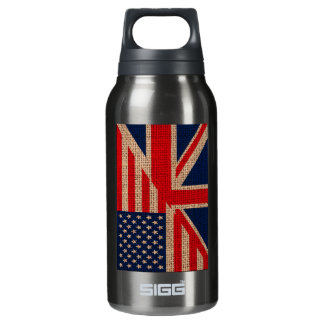 Cool usa union jack flags burlap texture effects insulated water bottle