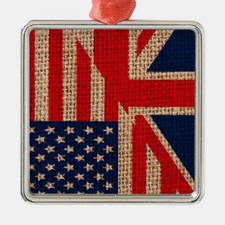 Cool usa union jack flags burlap texture effects metal ornament