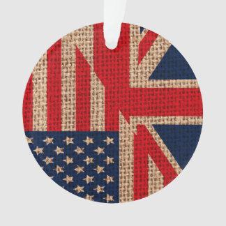 Cool usa union jack flags burlap texture effects ornament