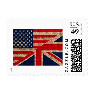 Cool usa union jack flags burlap texture effects stamp