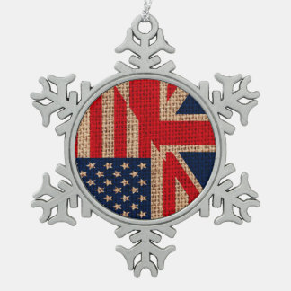 Cool usa union jack flags burlap texture effects snowflake pewter christmas ornament