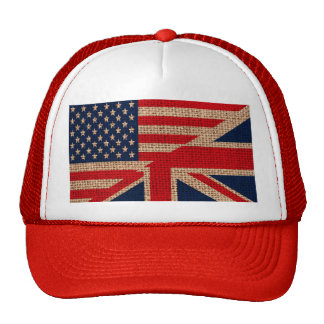 Cool usa union jack flags burlap texture effects trucker hat