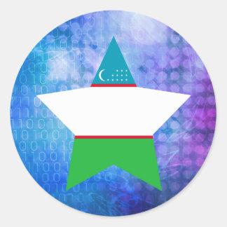 Cool Uzbekistan Flag Star Classic Round Sticker
