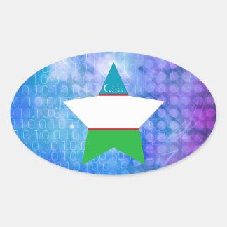 Cool Uzbekistan Flag Star Oval Sticker