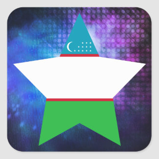 Cool Uzbekistan Flag Star Square Sticker