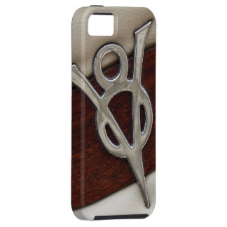 Cool V8 Chrome Emblem with Leather and Wood iPhone 5 Case