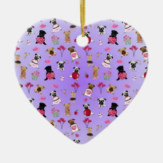 Cool Valentine Pugs on Lavender Background Ceramic Ornament